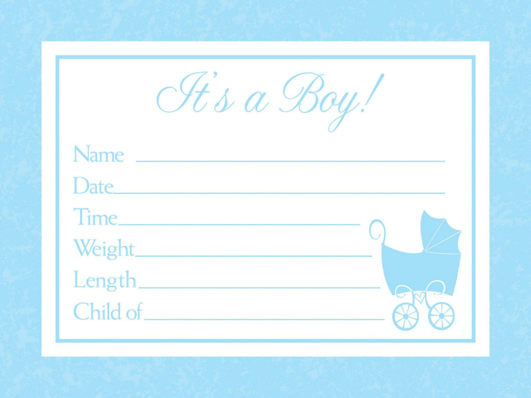 Baby Boy Announcements (8 count)