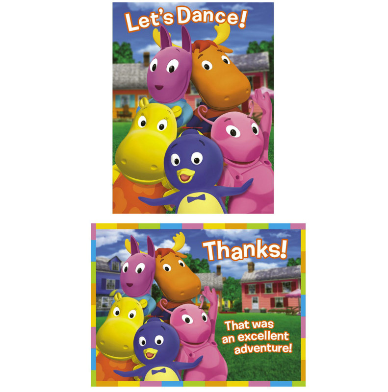 Backyardigans 8 Invitations and 8 Thank You Postcards