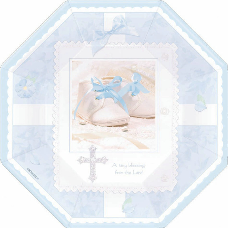 Tiny Blessing Blue Octagonal Dessert Plates (8 count)