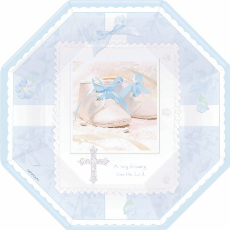 Tiny Blessing Blue Octagonal Dinner Plates (8 count)