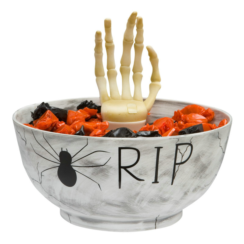 Animated Candy Bowl with Skeleton Hand