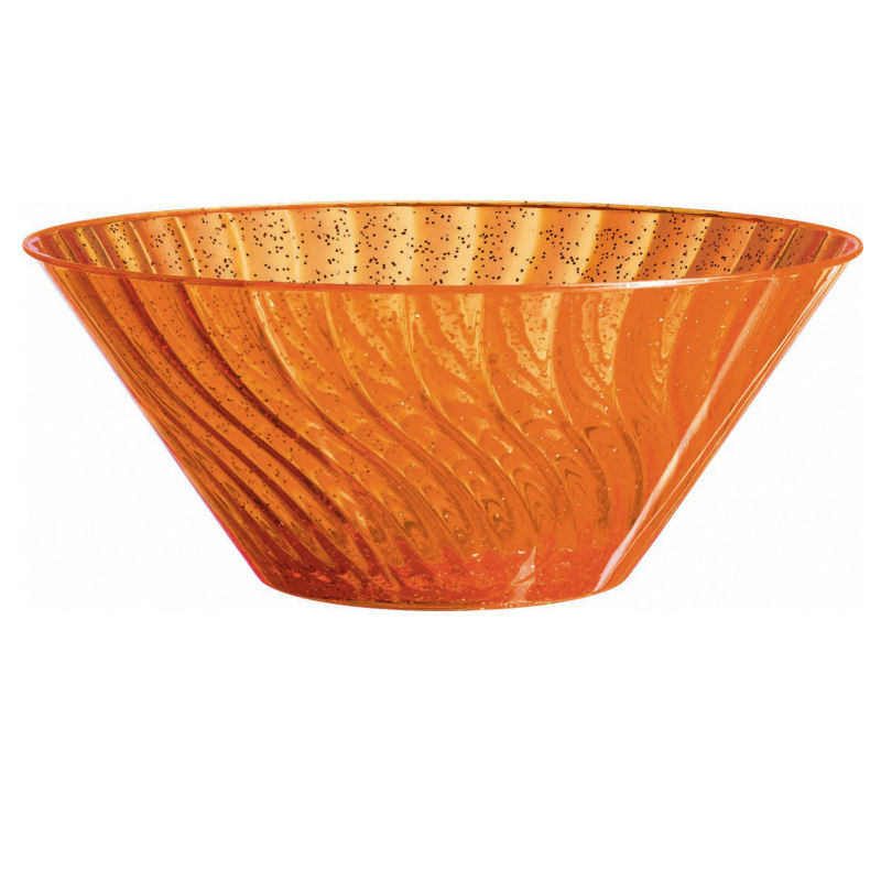 "11"" Large Orange Glitter Bowl"