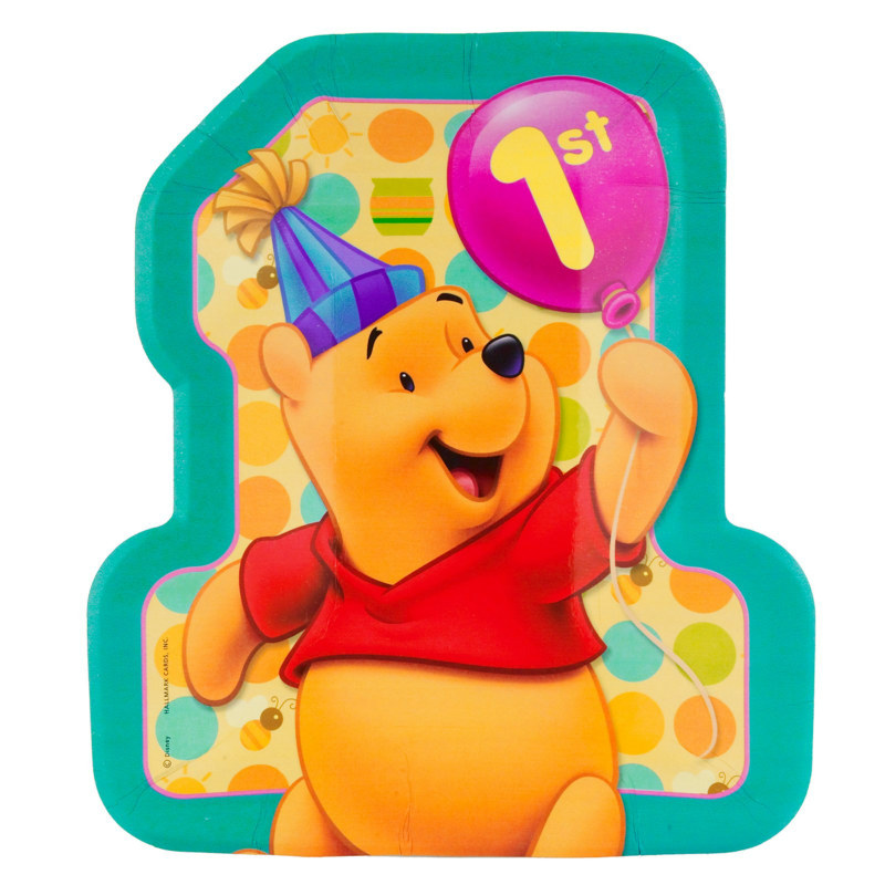 Pooh's First Birthday Shaped Dinner Plates (8 count)
