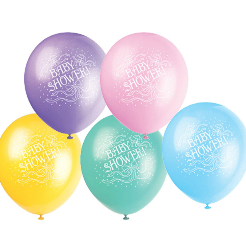 "Baby Shower 12"" Latex Balloons Asst. (6 count)"