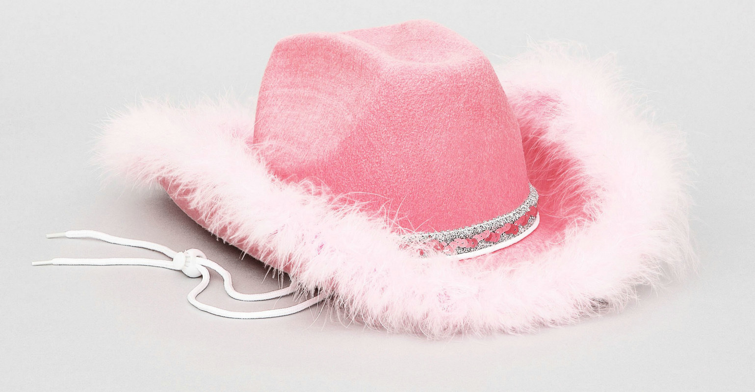 Pink Cowgirl Hat with Marabou