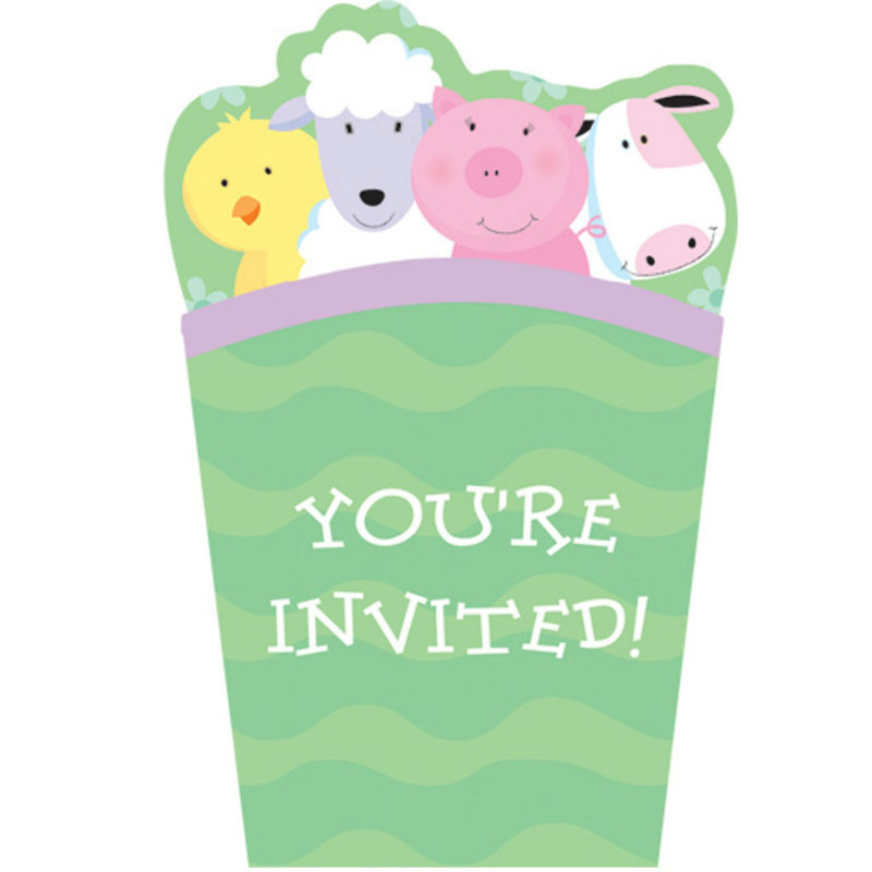 Barnyard Pop Up Invitations (8 count)
