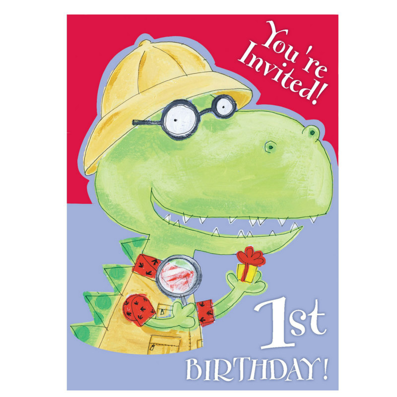 Dinomite 1st Birthday Invitations (8 count)
