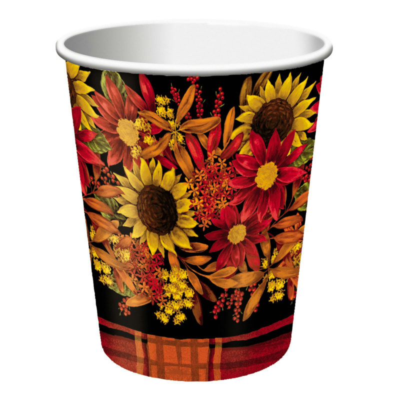 Autumn Floral 9 oz. Paper Cups (8 count)