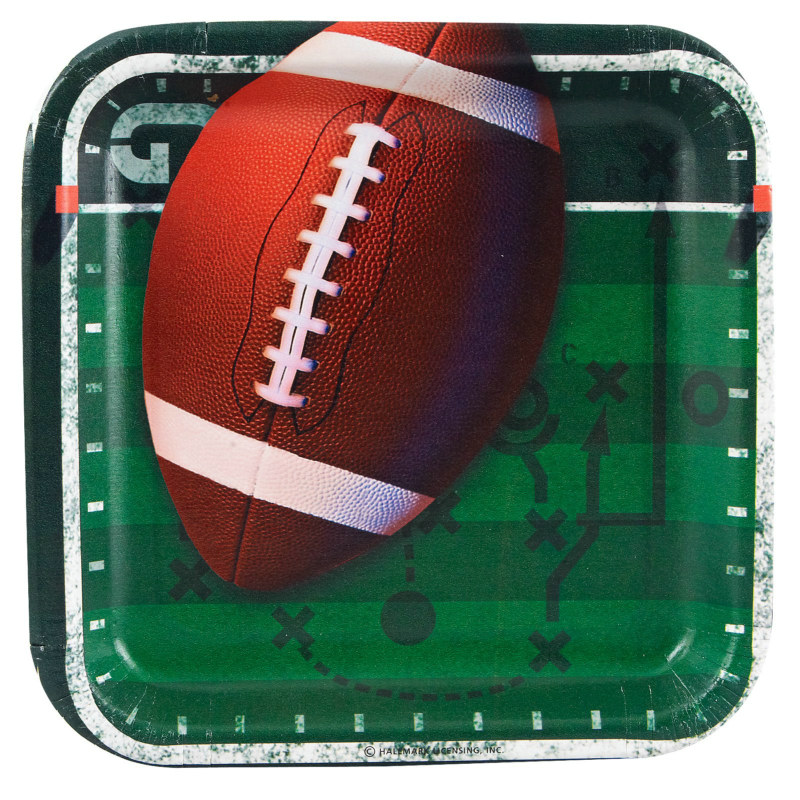 Football Square Dessert Plates (8 count)