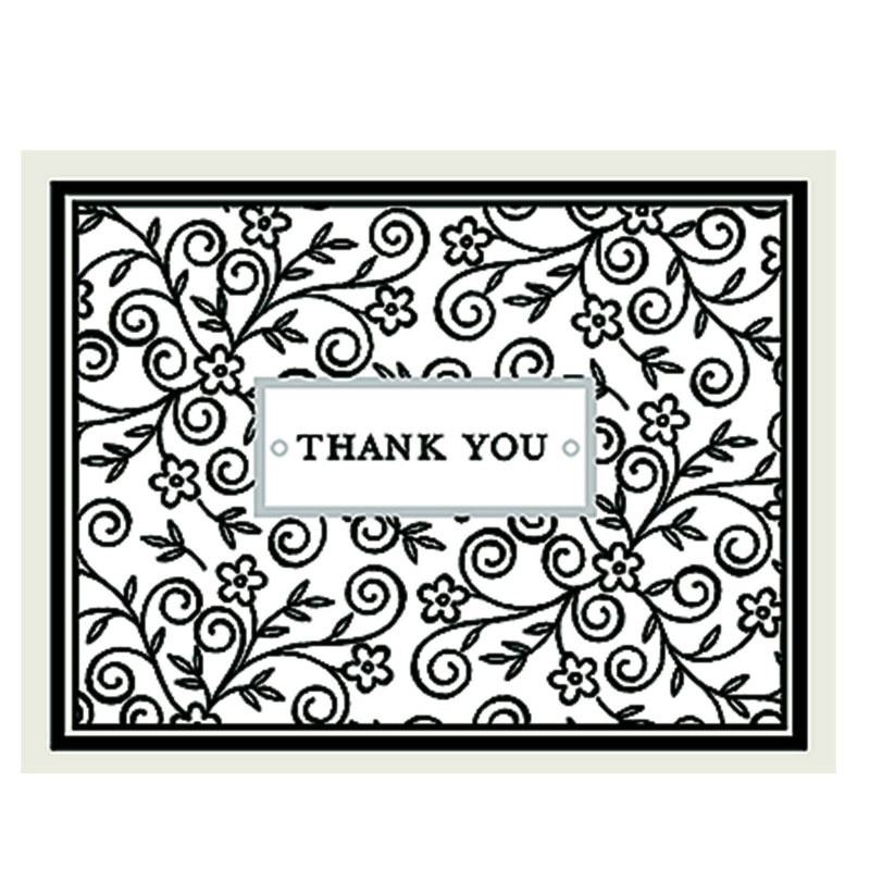 Floral Black and White Thank You Cards (8 count)