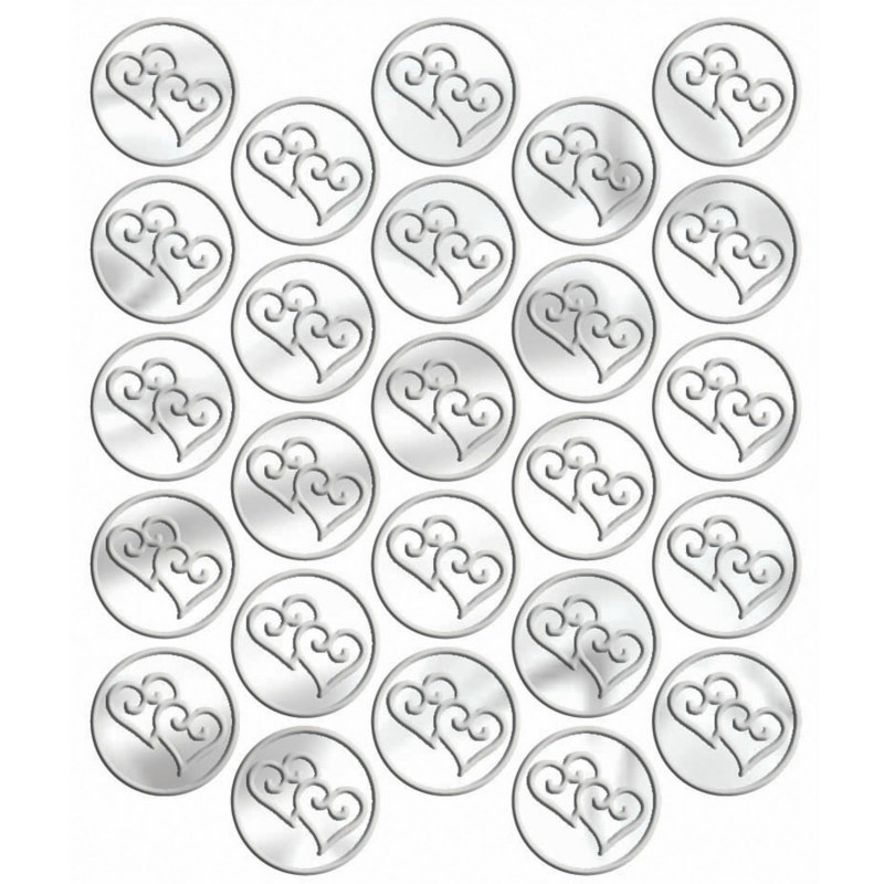 Metallic Silver Heart Sticker Seals (25 count)