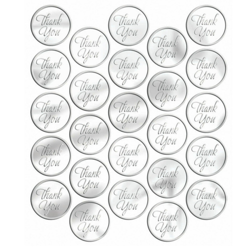 Metallic Silver Thank You Sticker Seals (50 count)