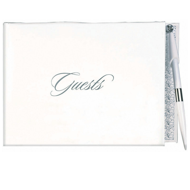 White and Silver Guest Book with Pen