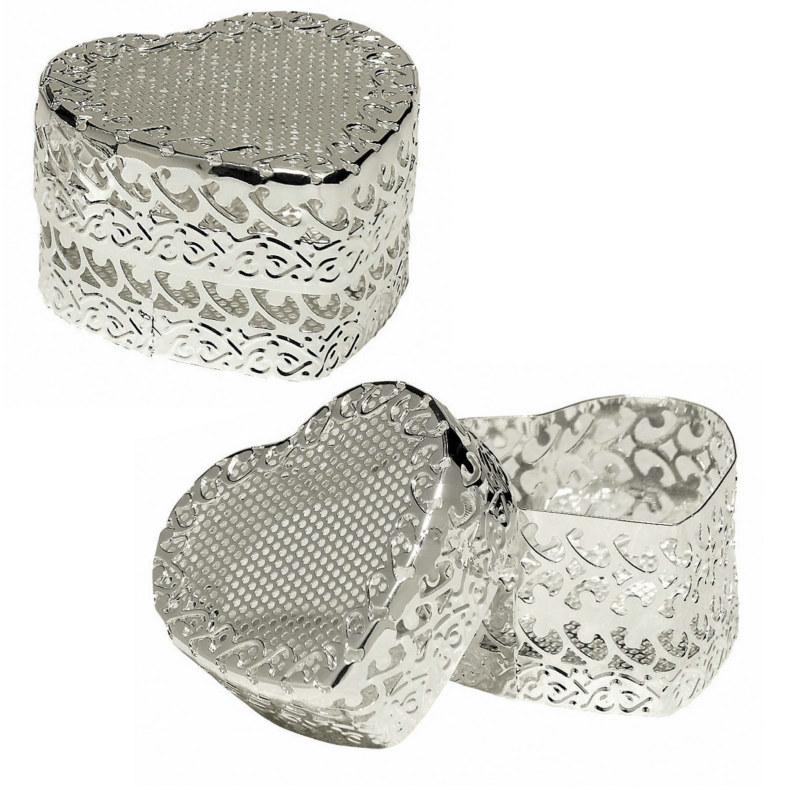 Silver Favor Heart Boxes (6 count)