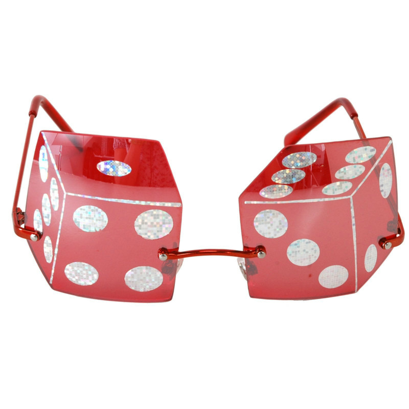 Rimless Red Dice Sunglasses