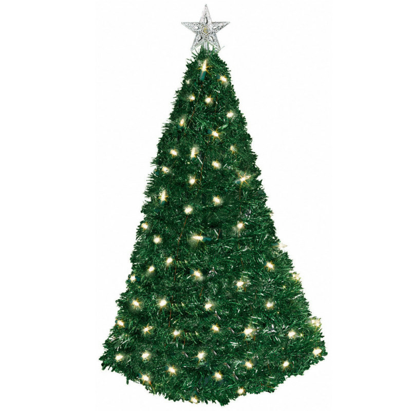 "24"" Pop-Up Tinsel Tree with Lights"