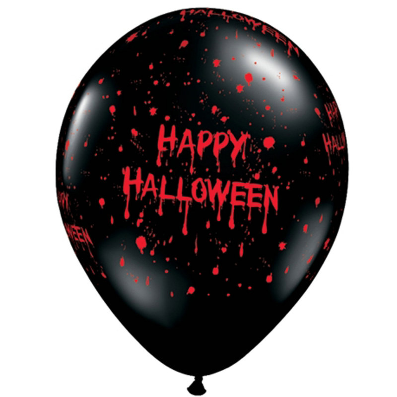 "Gruesome Halloween 11"" Black Latex Balloons (6 count)"