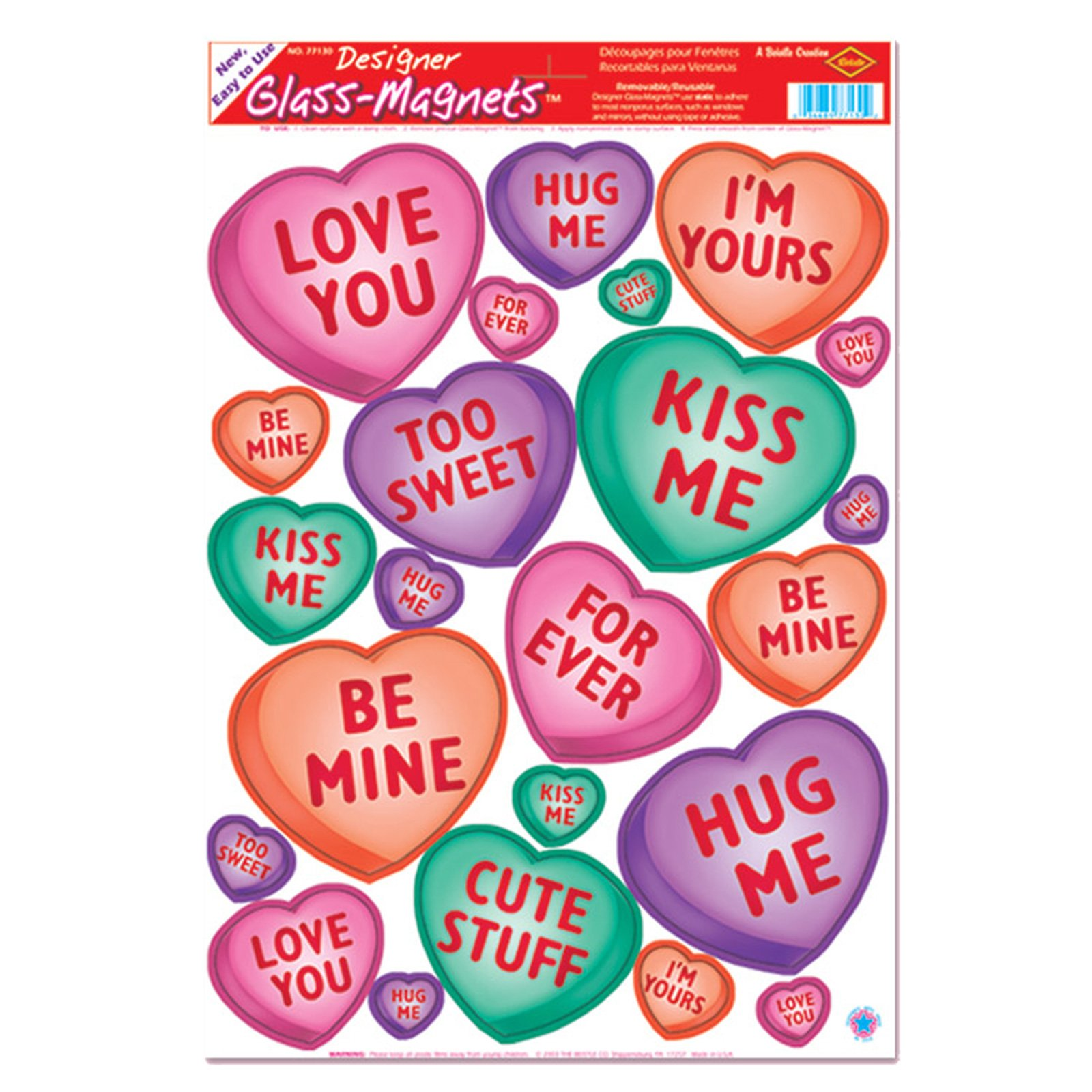 Candy Heart Clings (1 sheet)