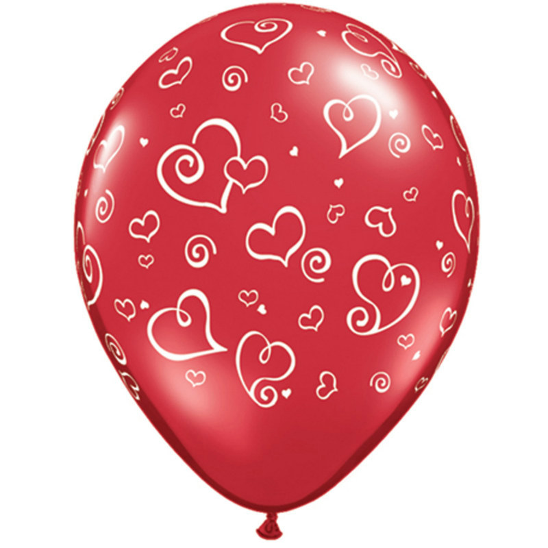 "Swirl Hearts 11"" Red Latex Balloons (6 count)"