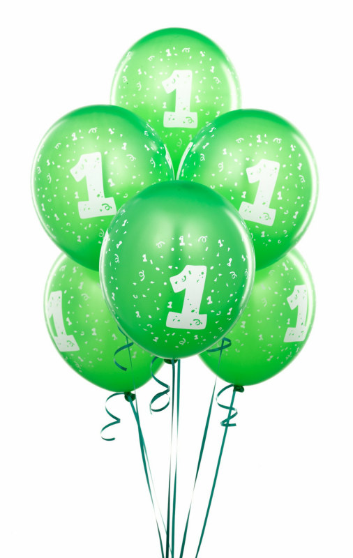 Lime Green #1 Balloons (6 count)