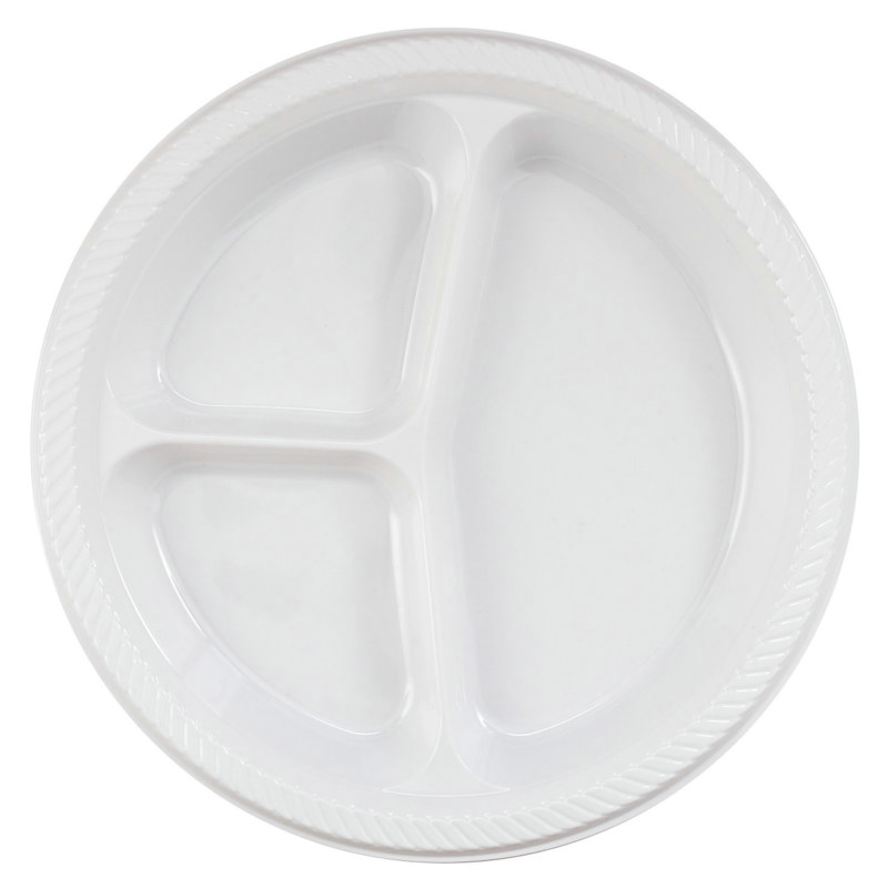 White Divided Dinner Plates (20 count)