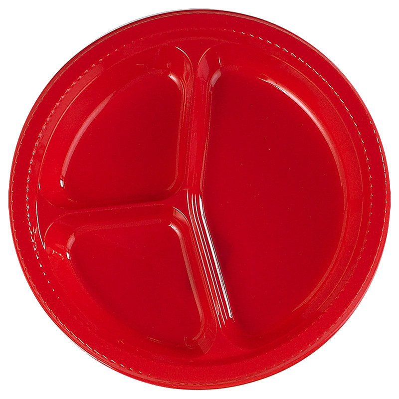 Red Divided Dinner Plates (20 count)