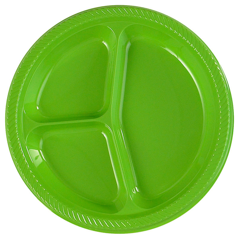 Lime Green Divided Dinner Plates (20 count)