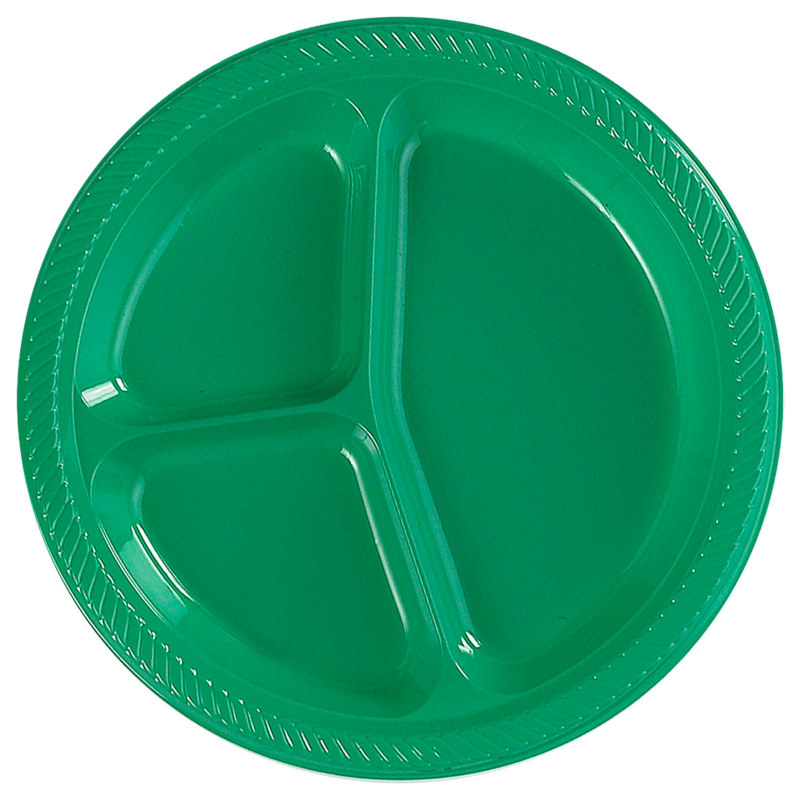 Green Divided Dinner Plates (20 count)