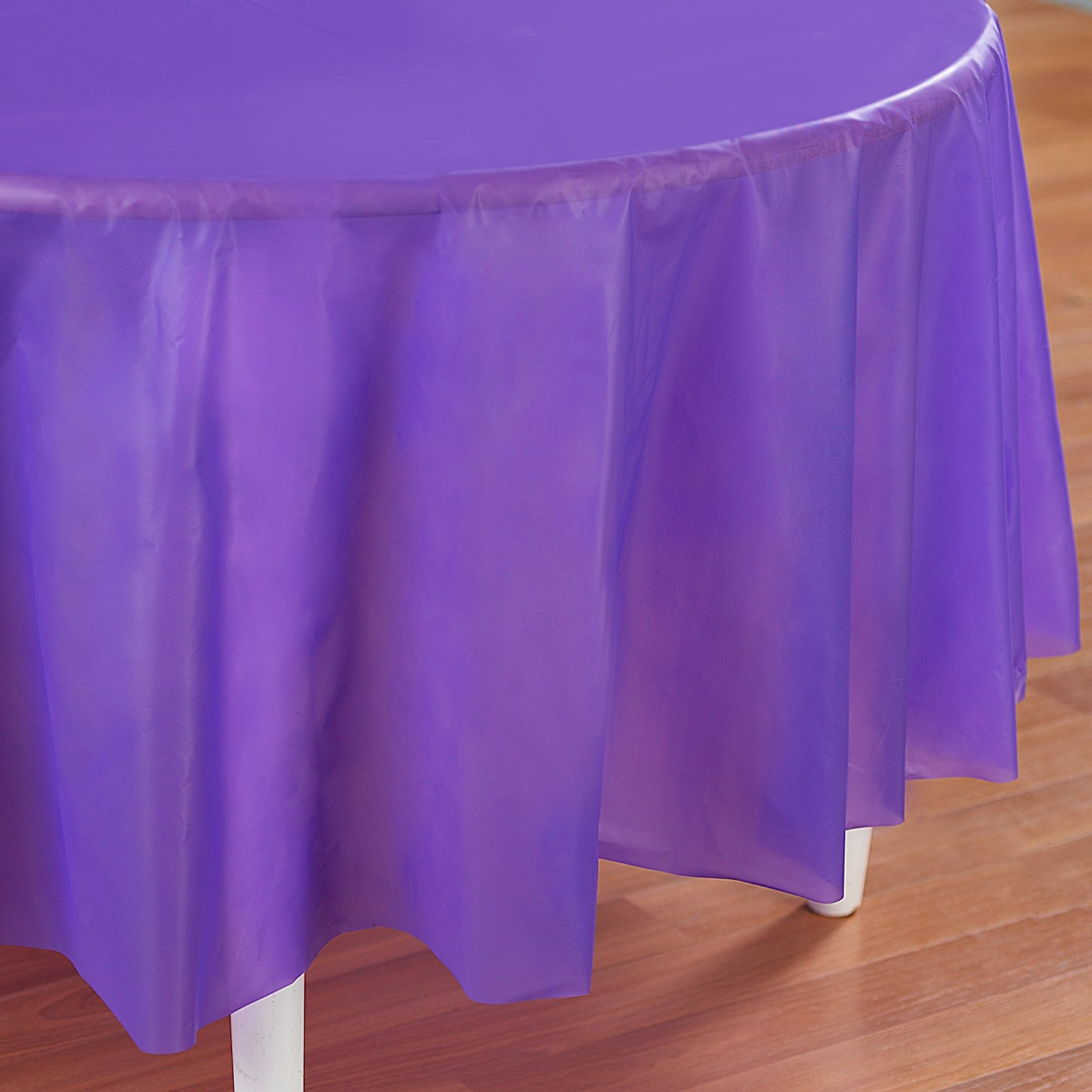 "Simply Purple 84"" Round Plastic Tablecover"