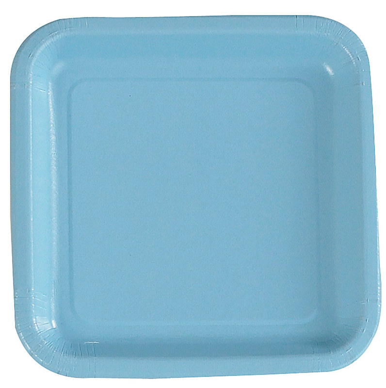 Light Blue Square Dessert Plates (12 count)