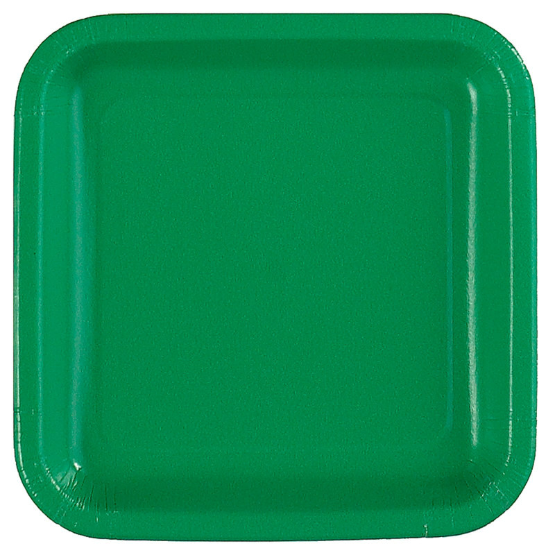 Green Square Dessert Plates (12 count)