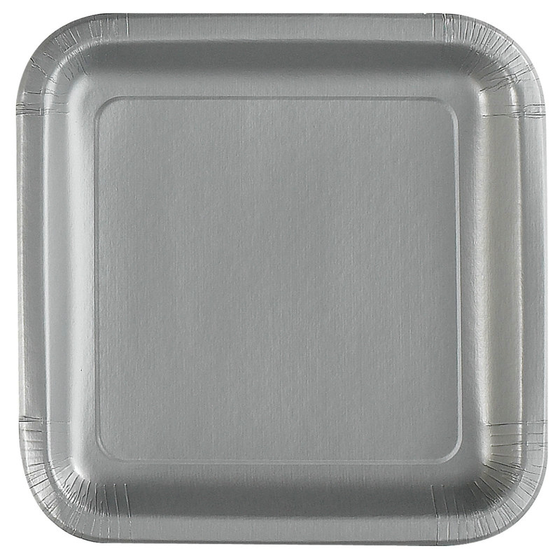Silver Square Dinner Plates (12 count)