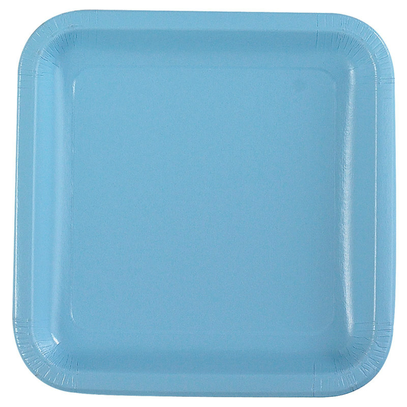 Light Blue Square Dinner Plates (12 count)