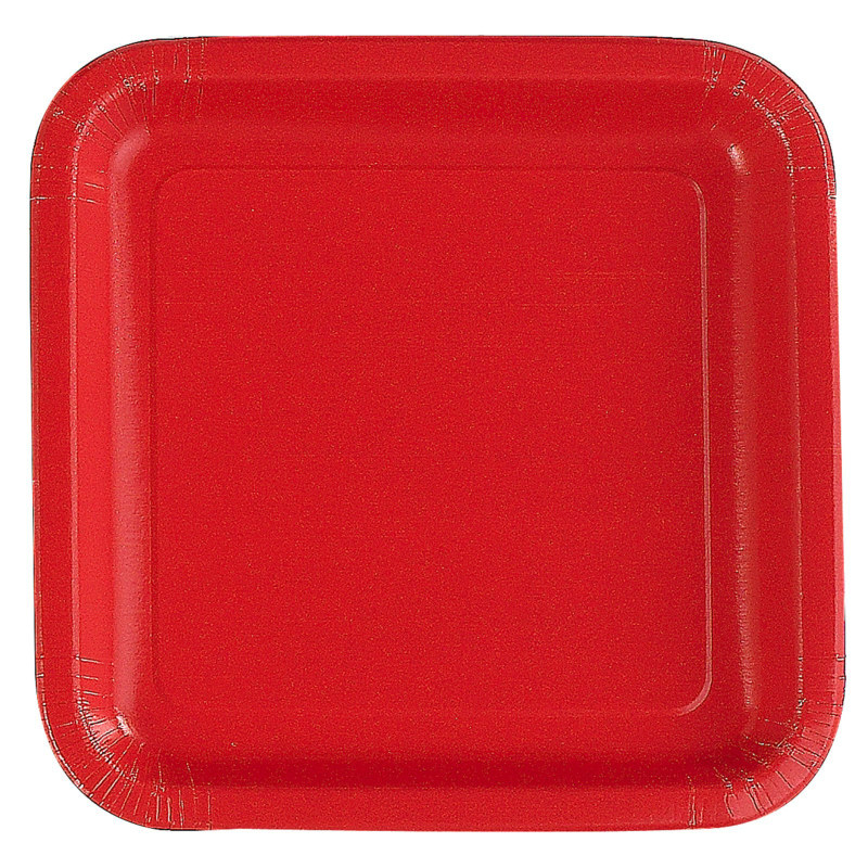 Red Square Dinner Plates (12 count)