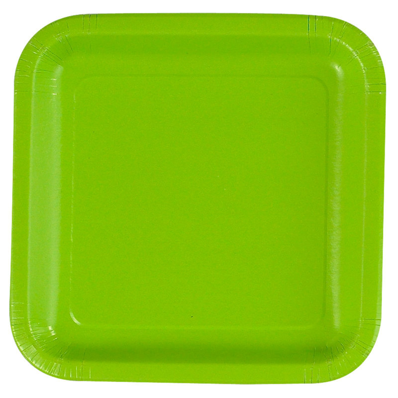 Lime Green Square Dinner Plates (12 count)