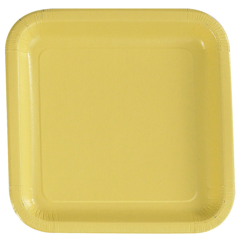 Light Yellow Square Dinner Plates (12 count)