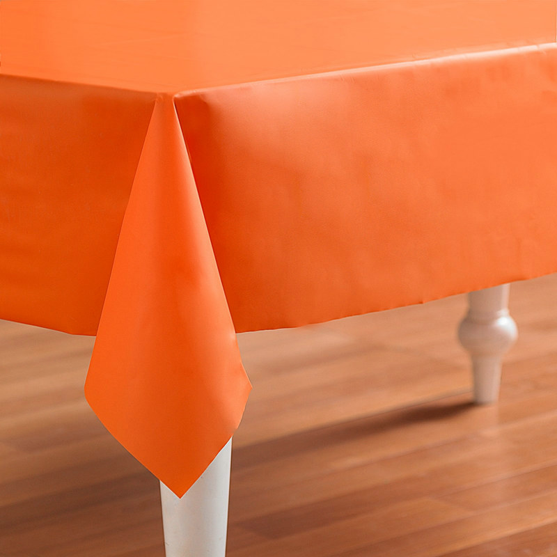 "Orange Plastic 54"" x 108"" Tablecover"