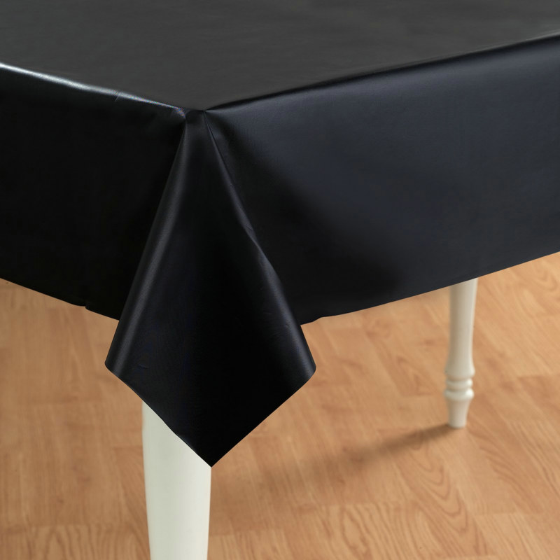 "Black 54"" x 108"" Plastic Tablecover"