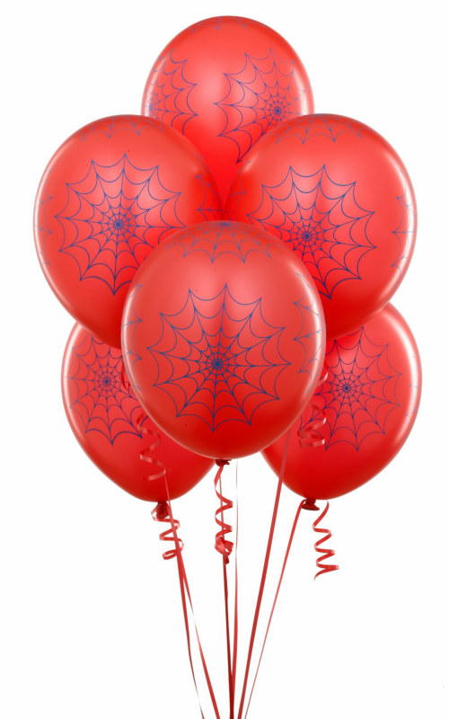 Red Balloons with Spiderwebs (6 count)