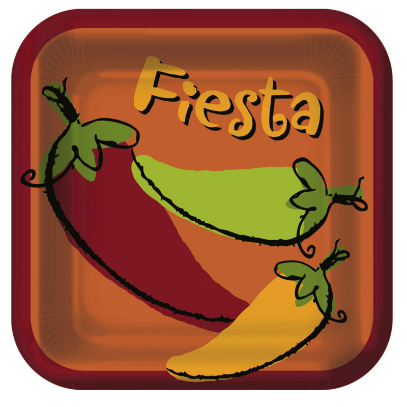 Fiesta Peppers Square Dinner Plates (8 count)