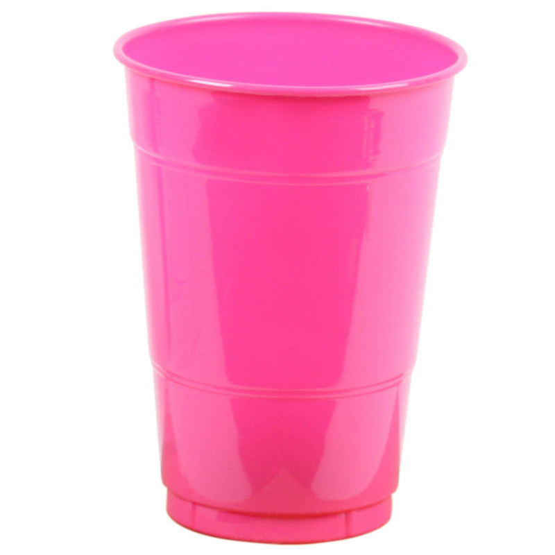 Hot Pink 16 oz. Plastic Cups (20 count)
