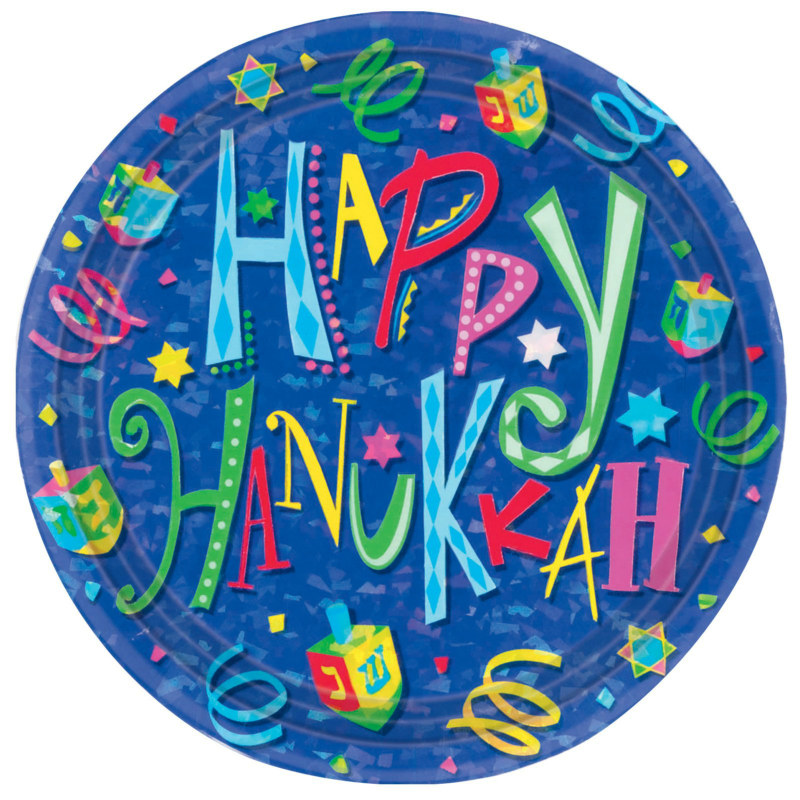 Hanukkah Fun Prismatic Dinner Plates (8 count)