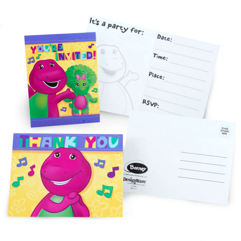 Barney Invitations and Thank-You Notes (8 each)
