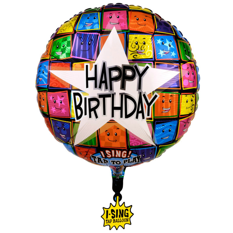"Happy Birthday Faces Singing 28"" Foil Balloon"