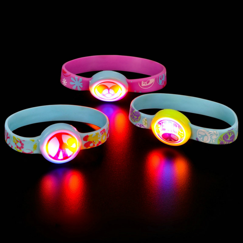 Light up Peace Sign Bracelet Asst. (1 count)