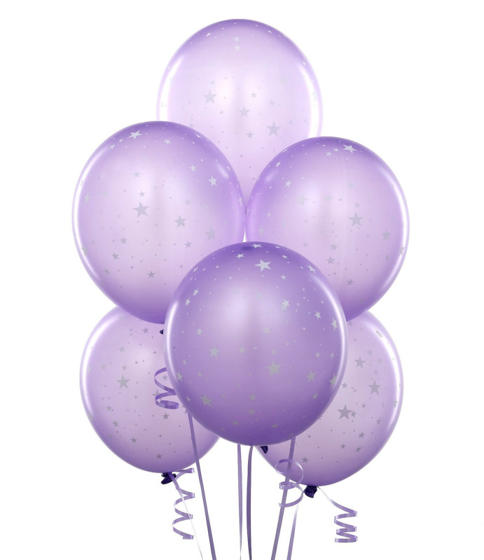 "Lavender with Stars 11"" Matte Balloons (6 count)"