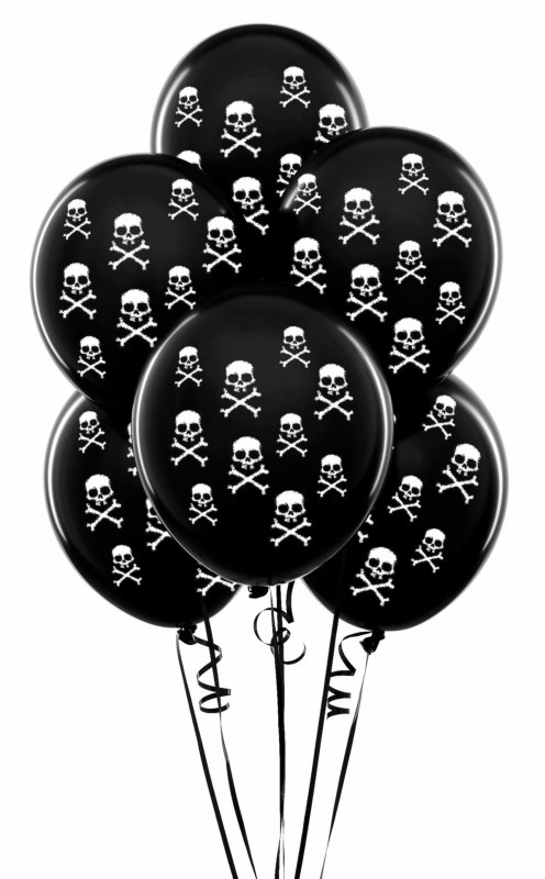 "Black with White Skulls 11"" Matte Balloons (6 count)"