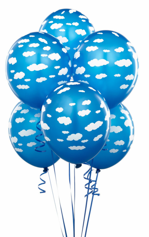 "Mid Blue with Clouds 11"" Matte Balloons (6 count)"