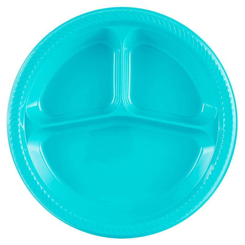 Turquoise Divided Dinner Plates (20 count)