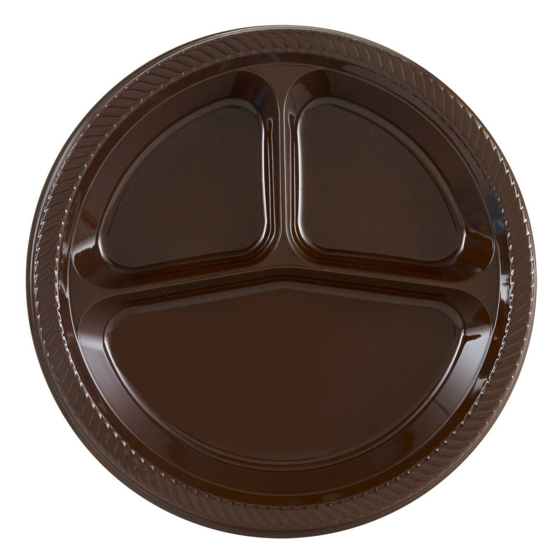 Brown Divided Dinner Plates (20 count)